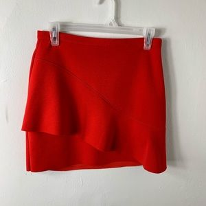 Topshop Asymmetrical Red Ruffle Mini Skirt Size 6